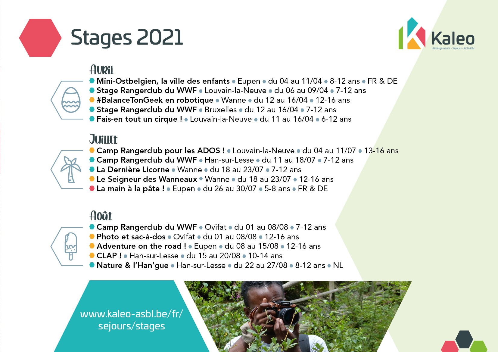 Listes des stages Kaleo 2021